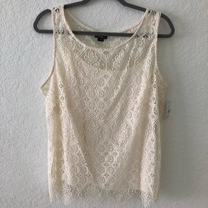 Simply Emma White Lace Tank top set 2 pieces New
